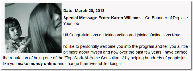 Karen Williams Online Jobs Now