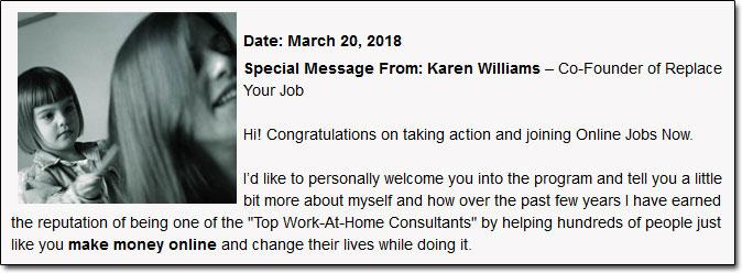 Karen Williams Online Jobs Now