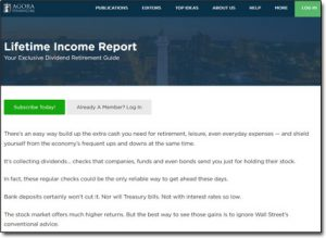 The Lifetime Income Report Website Screenshot