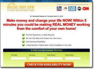 Online Jobs Now Website Screenshot