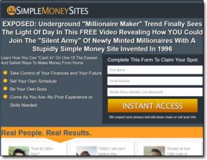 Simple Money Sites Website Screenshot