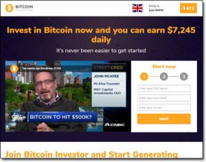 Bitcoin Investor System Website Screenshot