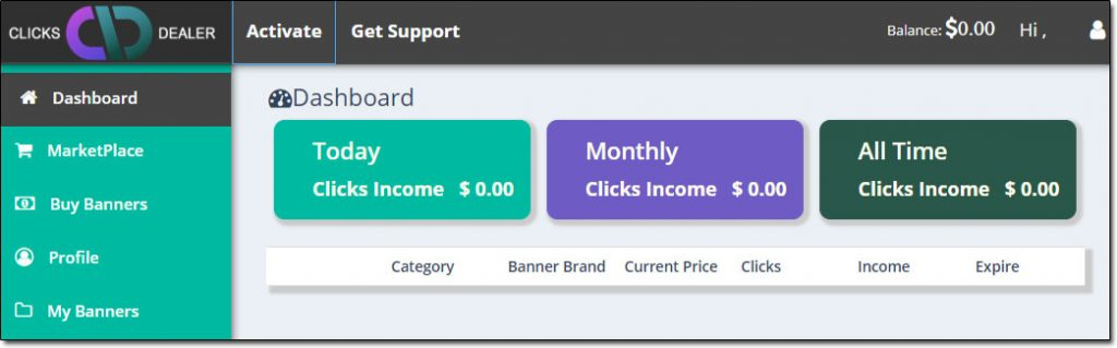 Clicks Dealer Dashboard Screenshot