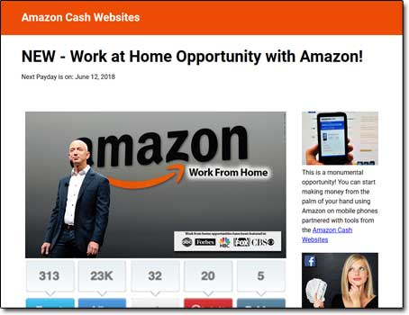 Amazon Cash Websites System Screenshot