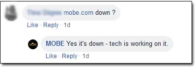 MOBE Down Facebook Comments