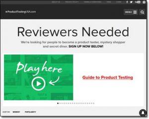 Product Testing USA Website Screenshot