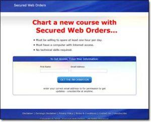 Secured Web Orders Website Screenshot