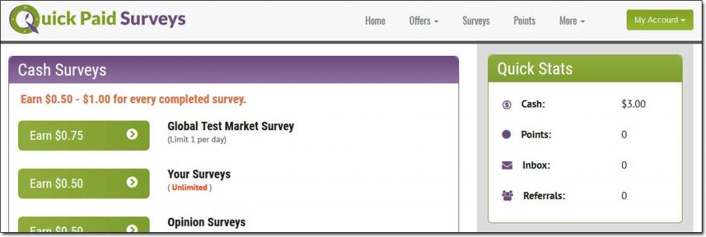 Quick Pay Survey Member Dashboard
