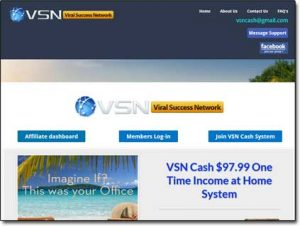 VSN Cash System Website Screenshot