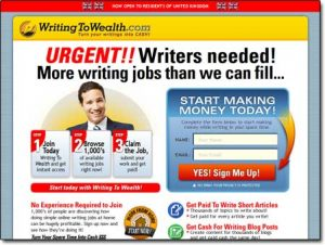 Writing To Wealth Website Screenshot