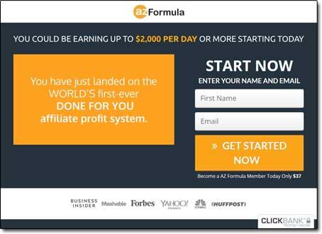 AZ Formula System Website Screenshot