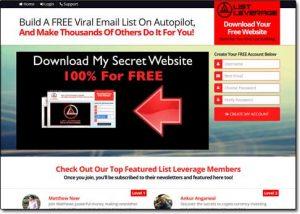 List Leverage System Website Screenshot