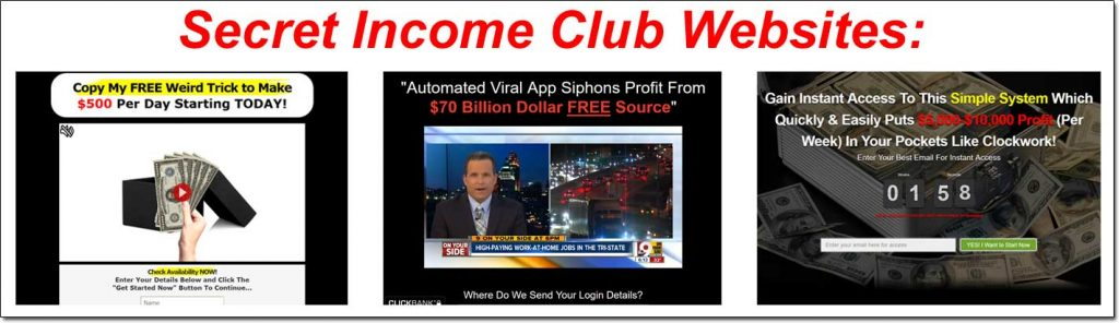 Secret Income Club Websites