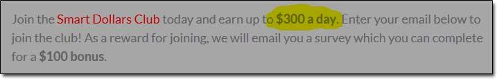 Smart Dollars Club 300 Dollars Per Day