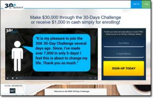 30K In 30 Days App Website Screenshot