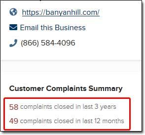 Banyan Hill BBB Complaints