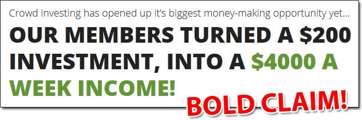 Crowd Profits Bold Income Claim