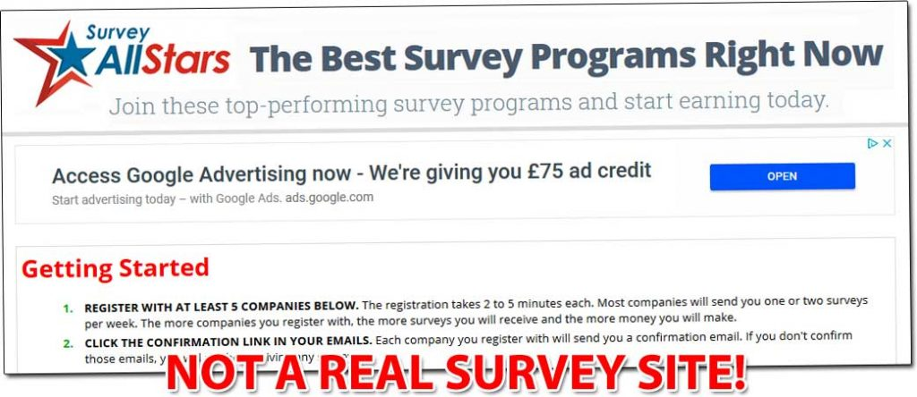 Survey All Stars Fake Survey Site