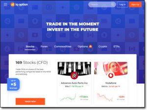 IQ Option Broker Website Screenshot