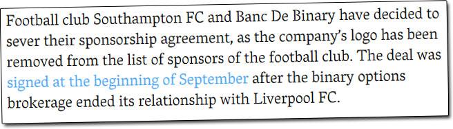 Southampton FC Banc De Binary News