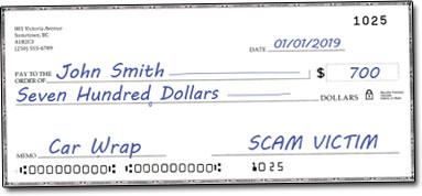Car Wrap Cheque