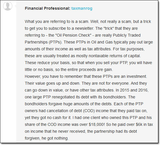 Financial Professional's Comments From JustAnswer