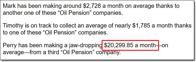 Guaranteed Oil Pension Checks Testimonials
