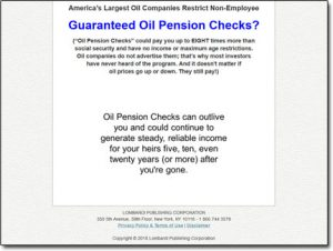Guaranteed Oil Pension Checks Website Screenshot