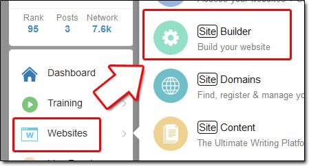 Site Builder Menu Screenshot