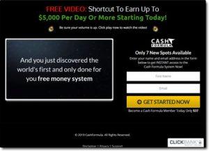 Cash Formula System Website Screenshot