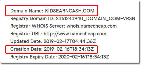 Kids Earn Cash WHOIS Result