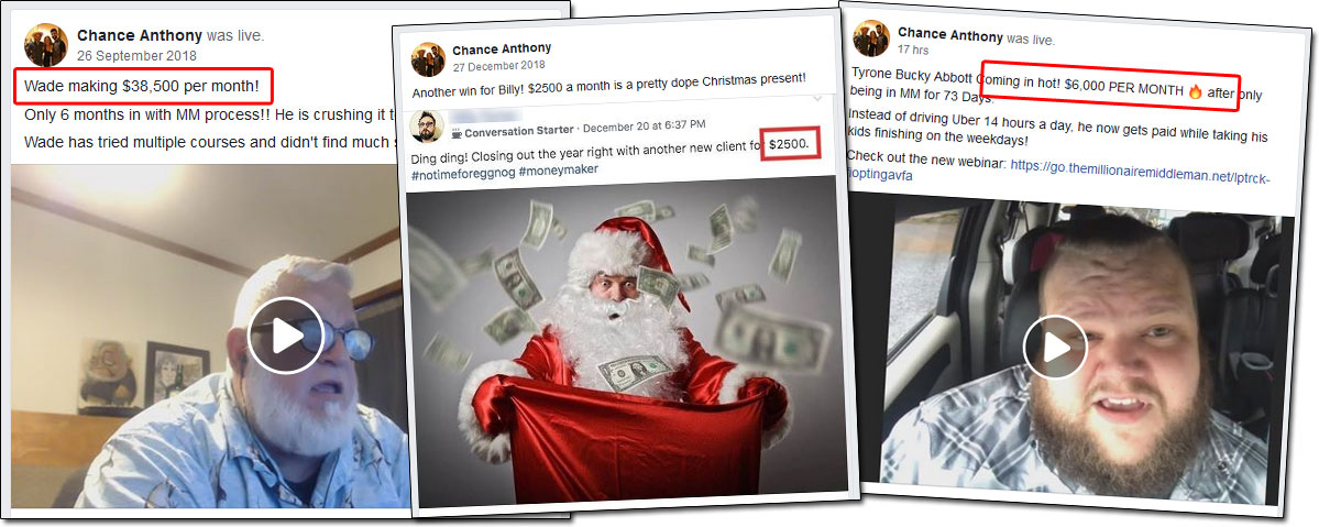 Millionaire Middleman Facebook Income Claims
