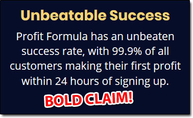 Claim Made By The Profit Formula Website