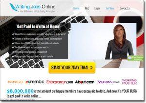 Writing Jobs Online Website Screenshot