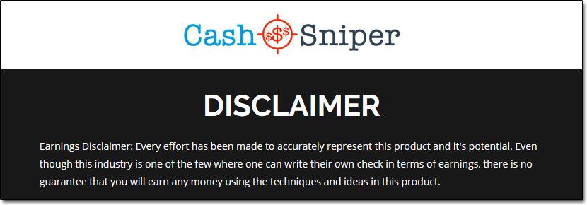 Cash Sniper Disclaimer Page