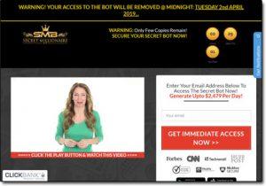 Secret Millionaire Bot System Website Screenshot