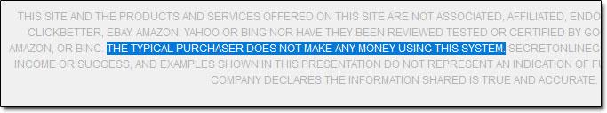 Secret Online Goldmine Disclaimer Screenshot