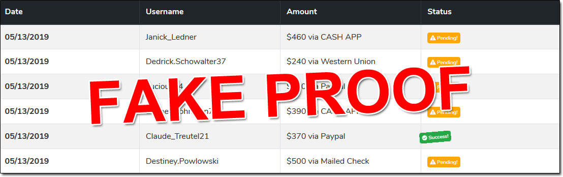 Kids Have Money Payment Proof Table