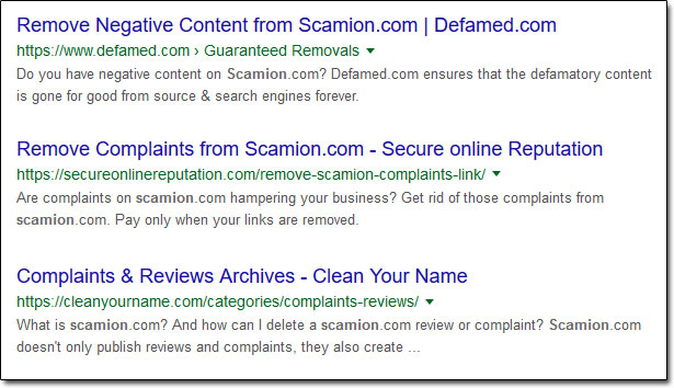 Scamion Complaints Removal