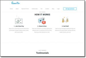 CloutPay Website Screenshot