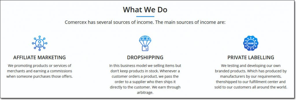 Comercex Sources of Income