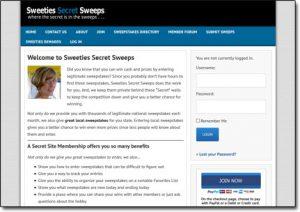 Sweeties Secret Sweeps Website Screenshot
