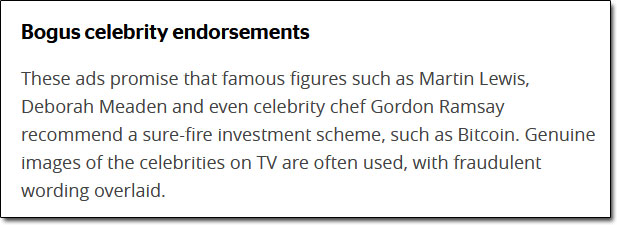 Bogus Celebrity Endorsements