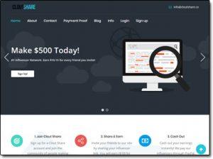 CloutShare Website Screenshot