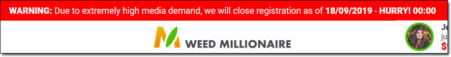Weed Millionaire Closing Date Counter