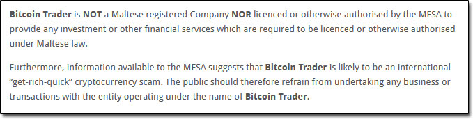 Bitcoin Trader MFSA Warning