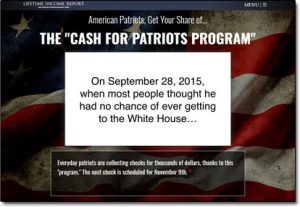 Cash For Patriots Program Website Screenshot