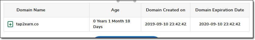 Tap 2 Earn Domain Age