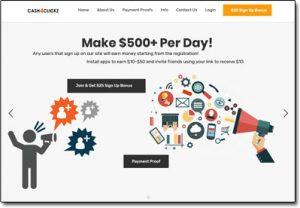 Cash4Clickz Website Screenshot