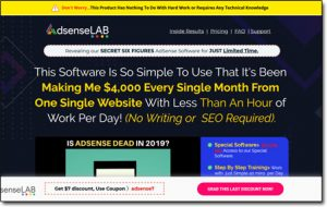 Adsense Lab Software Website Screenshot
